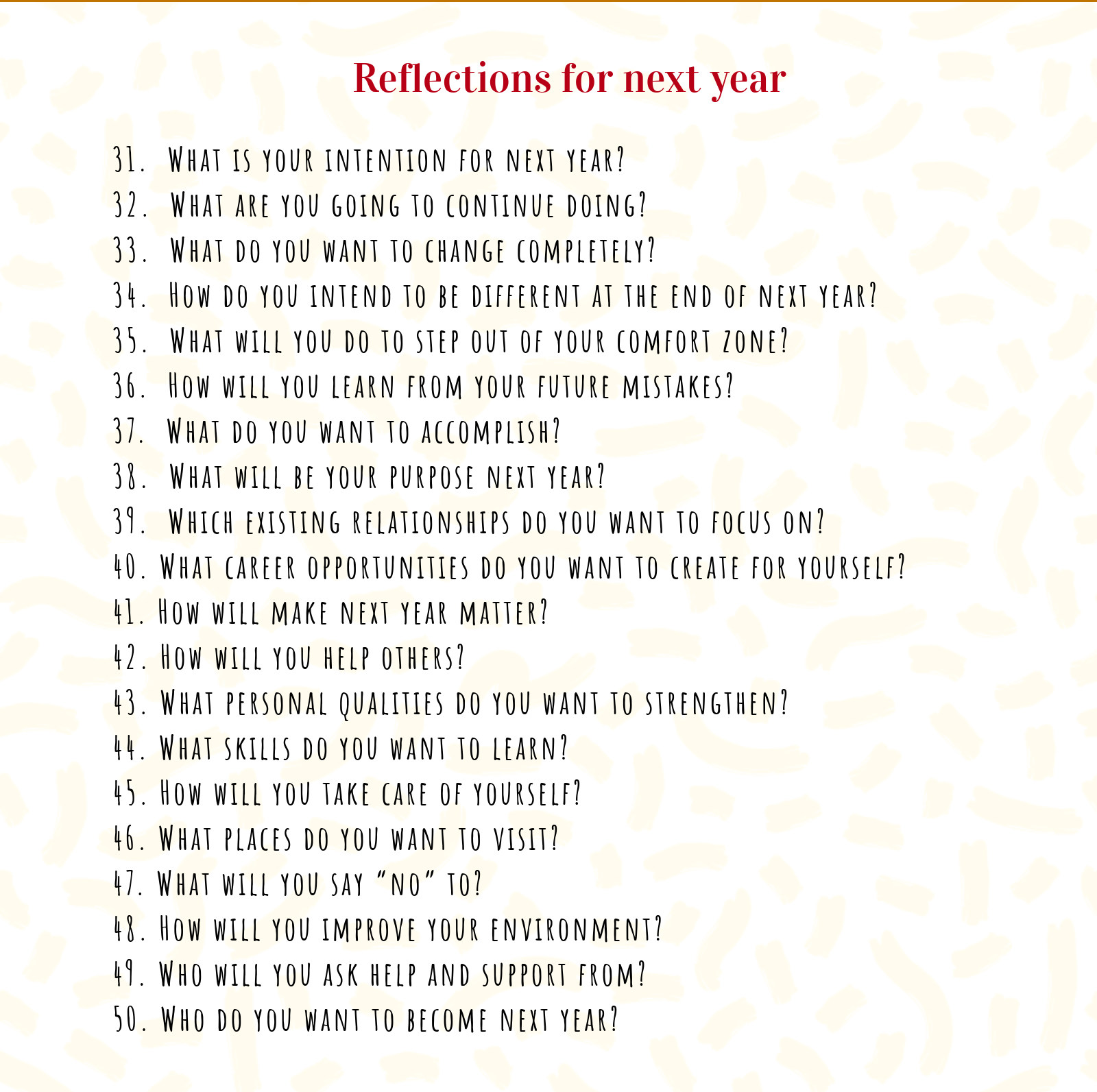 questions to reflect next year